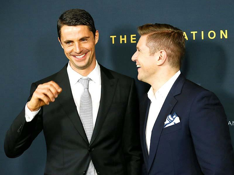 Actors Matthew Goode and Allen Leech pose at the screening. (Reuters Photo)