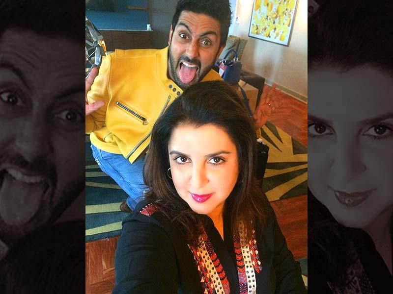 This is the photo which launched a Twitter tussle (the funny kind). Farah Khan uploaded this image of Abhishek photobombing her with the caption,