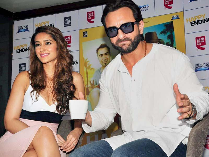Saif Ali Khan and Ileana D'Cruz during a promotional event of Happy Ending in Mumbai. (PTI Photo)