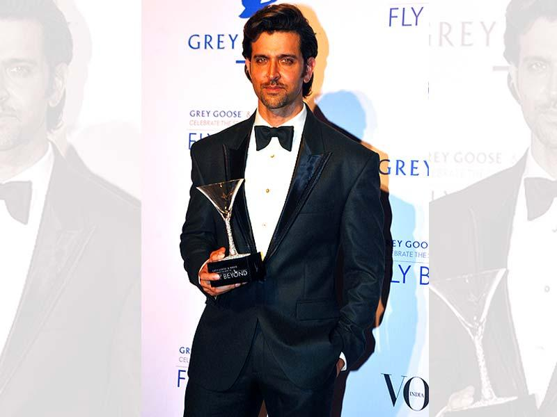 Hrithik Roshan poses at the Grey Goose Fly Beyond Awards in Mumbai. (AFP Photo)