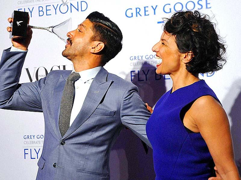 Farhan Akhtar poses with his wife Adhuna Akhtar at the Grey Goose Fly Beyond Awards 2014 in Mumbai. (PTI Photo)
