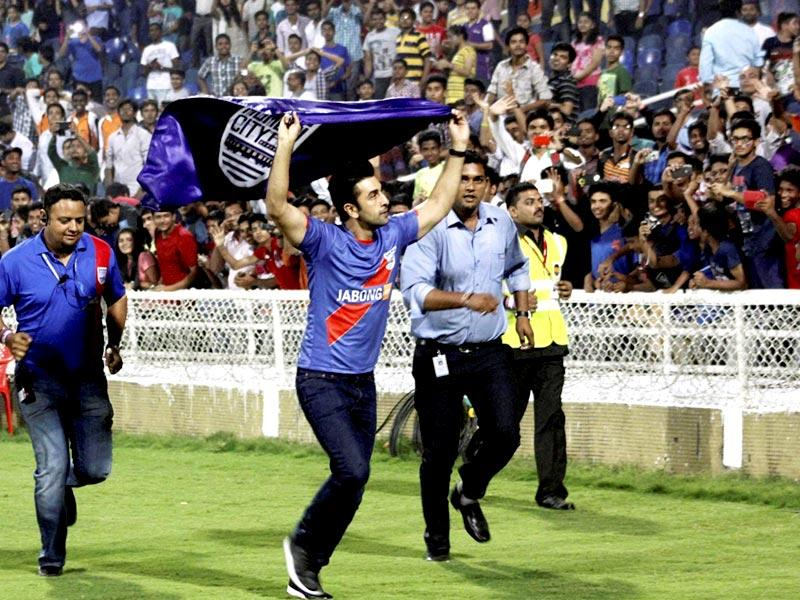 Bollywood actor and Mumbai city Football Club owner Ranbir Kapoor during the Indian Super League match between Mumbai City FC and Delhi Dynamos FC in Navi Mumbai. (PTI Photo)