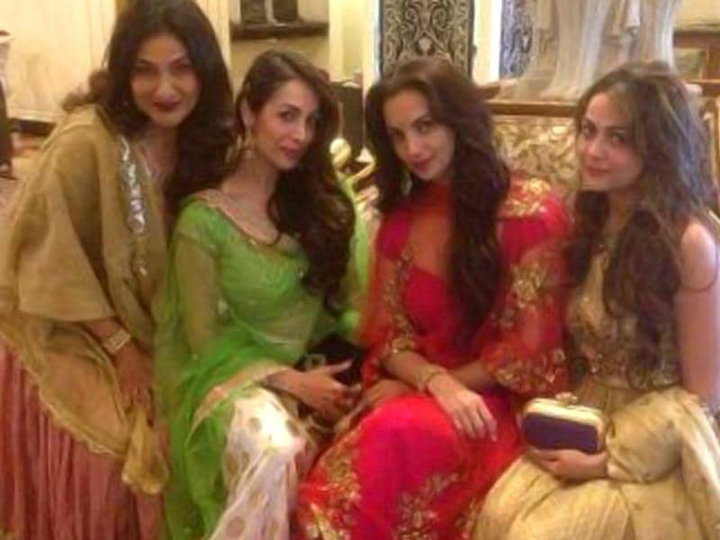 Arpita Khan's marriage is turning out to be the wedding of the year. Here are some vignettes from Salman's sister's star-studded wedding. Arbaaz's wife Malaika (2nd from left) and Sohail's wife Seema (3rd from left) decked up for an event. (Courtesy: Twitter)
