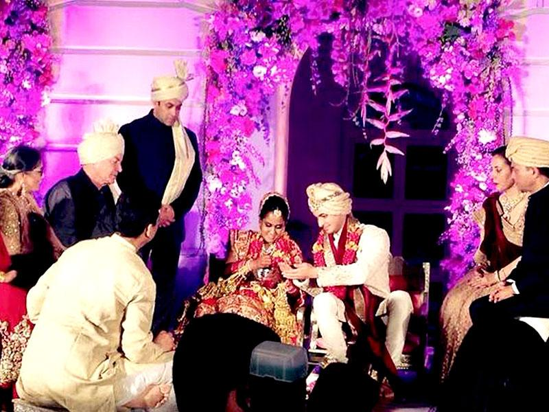 The wedding celebrations of Salman Khan's sister Arpita Khan with businessman Aayush Sharma began at the Taj Falaknuma hotel in Hyderabad on Tuesday. From 'jaimala' and 'phere', the Bollywood superstar was seen by his sister's side at all times. (Courtesy: Twitter)