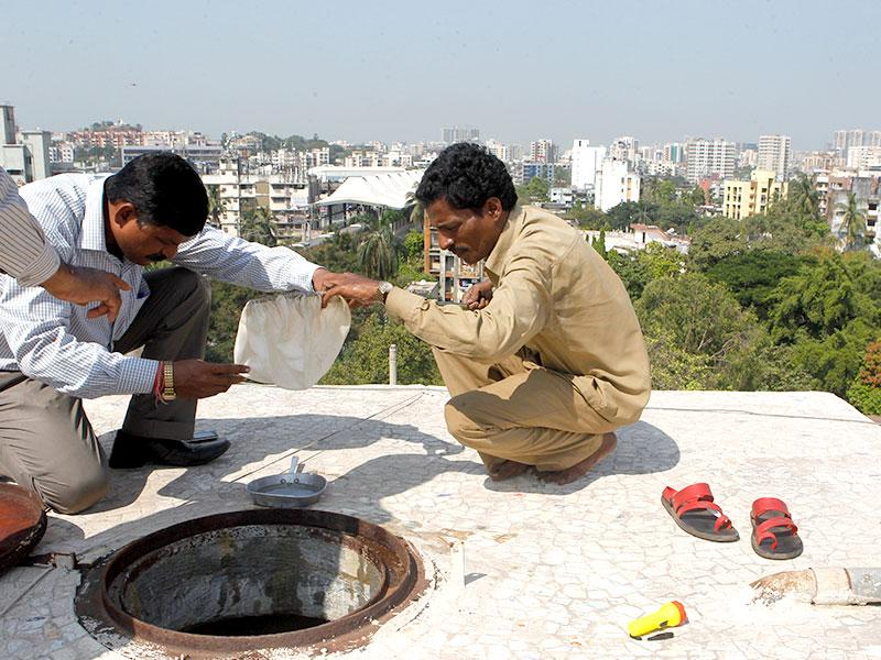 BMC workers collect water samples from localities in Andheri to test for dengue infection. (Satish Bate/HT photo)