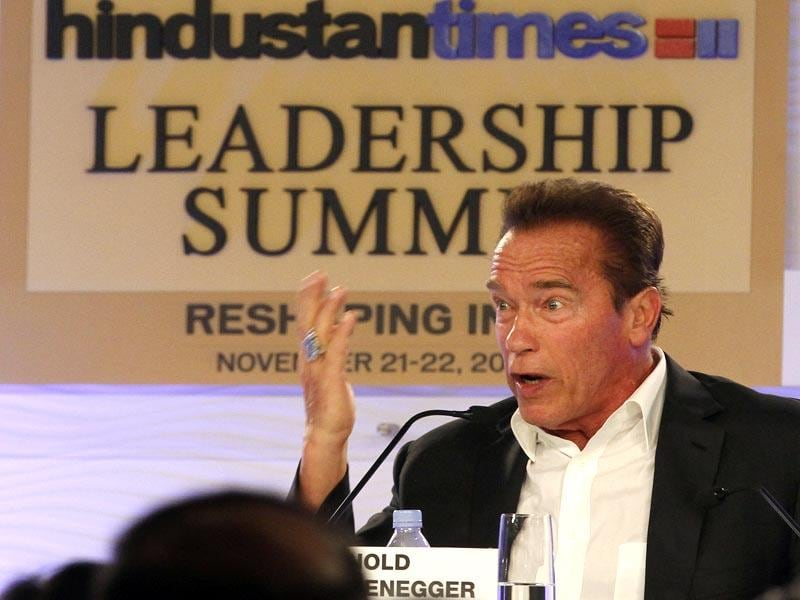 A guest speaker at this year's HT Summit, Hollywood actor and California's ex-governor Arnold Schwarzenegger addressed a session Saturday. (Arvind Yadav/ HT Photo)