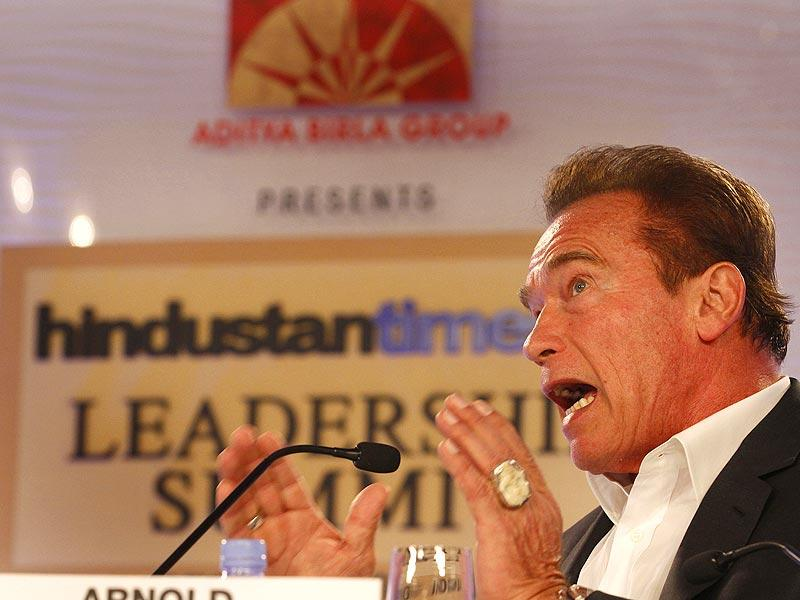 The session 'Muscle Beach to Hollywood to Governor of California: A Wondrous, Surreal Trip?' saw Schwarzenegger talking about his dream journey. (Arvind Yadav/ HT Photo)