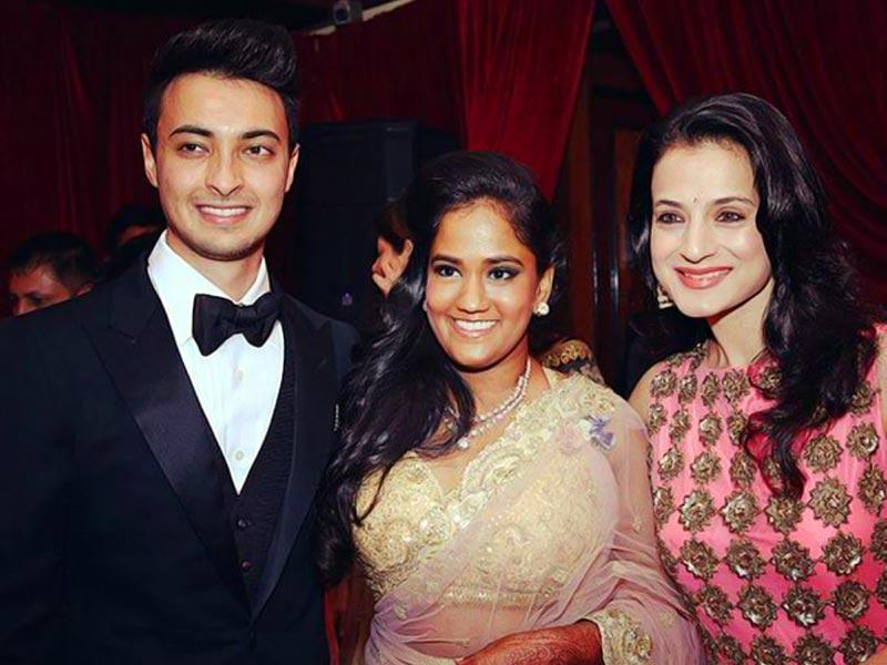 The bride and the groom with actor Amisha Patel.