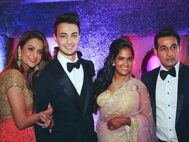 Amrita Arora with husband Shakeel Ladak and the newly married couple.