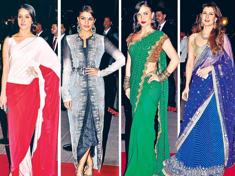 Shraddha Kapoor, Jacqueline Fernandes, Elli Avaram and Sangeeta Bijlani at Arpita Khan's reception. (Yogen Shah/HT photo)