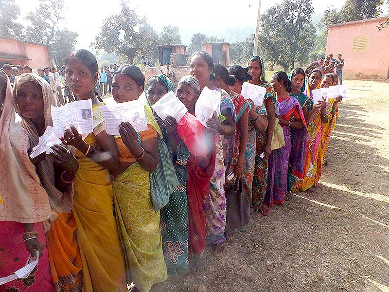 Women voters show their identity cards at a polling station during the first phase of Jharkhand Assembly elections in Latehar. (PTI photo)