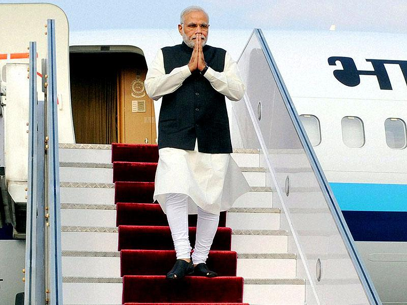 Prime Minister Narendra Modi on his arrival at Tribhuvan International Airport in Kathmandu. (PTI photo)