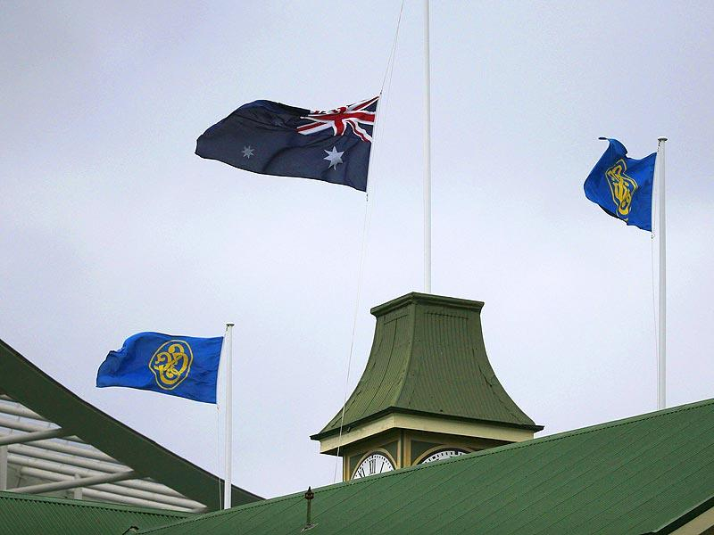 The Australian flag flies at half mast at the Sydney Cricket Ground following the announcement of the death of Australian cricketer Phillip Hughes. (Reuters Photo)