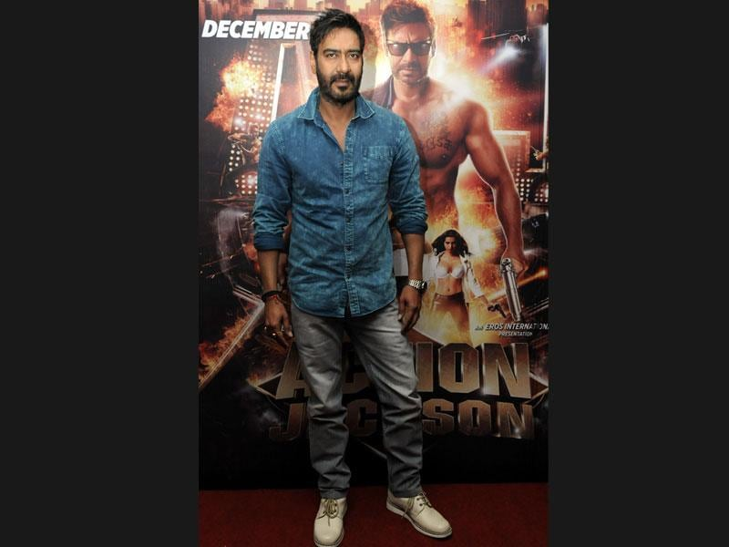 Bollywood actor Ajay Devgn visits Indore for promoting his upcoming film Action Jackson on Thursday. The film has been directed by Prabhudeva. (Arun Mondhe/ HT photo)