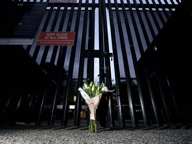 A bouquet left in memory of Australian cricketer Phillip Hughes is pictured at the gates of the Sydney Cricket Ground. (Reuters)
