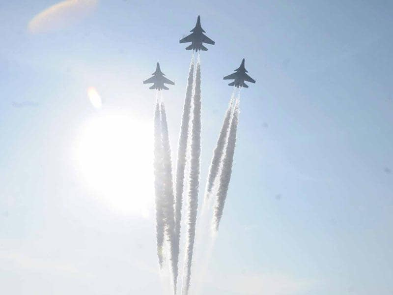 A display by the IAF at the 127th Passing out Parade at National Defence Academy in Pune. (HT photo)