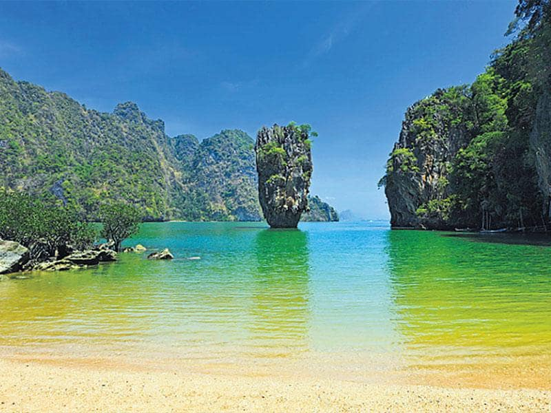 Ko Tapu, Phang Nga Bay, Phuket, Thailand: This island with a huge limestone rock in the sea became so popular after being featured in the 1974 Bond film, The Man With The Golden Gun, that it is now also referred to as the James Bond Island. In the film, Francisco Scaramanga (Christopher Lee) shows Bond (Roger Moore) his solar power plant hidden in the rocks of this island.