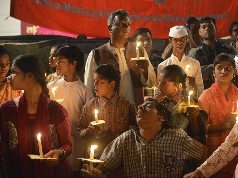 Differently abled children of Bhopal gas tragedy survivors pay homage to those who had died in the disaster in 1984, at Iqbal Maidan in Bhopal on Sunday. (Mujeeb Faruqui/HT photo)
