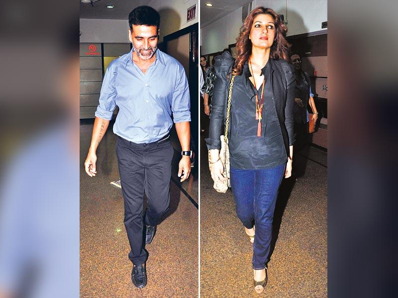 Akshay Kumar and Twinkle Khanna attended a play. (HT Photo)