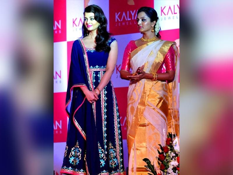Actors Aishwarya Rai Bachchan and Manju Warrier at a program in Kochi. (PTI)