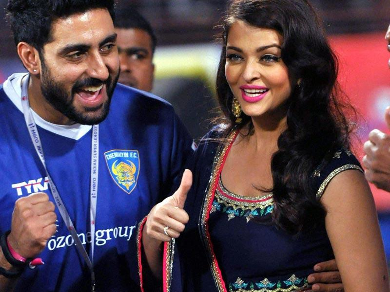 Abhishek Bachchan and Aishwarya Rai during the Indian Super League match between Chennaiyin FC and Kerala Blasters FC at the Jawaharlal Nehru Stadium in Kochi. (PTI)