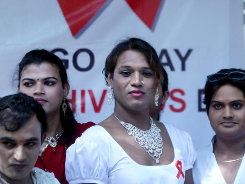 Transgenders participate in a rally to spread awareness on Aids on World Aids Day in Mumbai. (Vijayanand Gupta/HT photo)