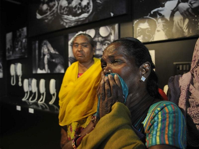 Gas survivors get emotional as they visit 'Remember Bhopal Museum'. It is the first museum in India that relies on the oral testimonials of survivors. (Praveen Bajpai/HT photo)