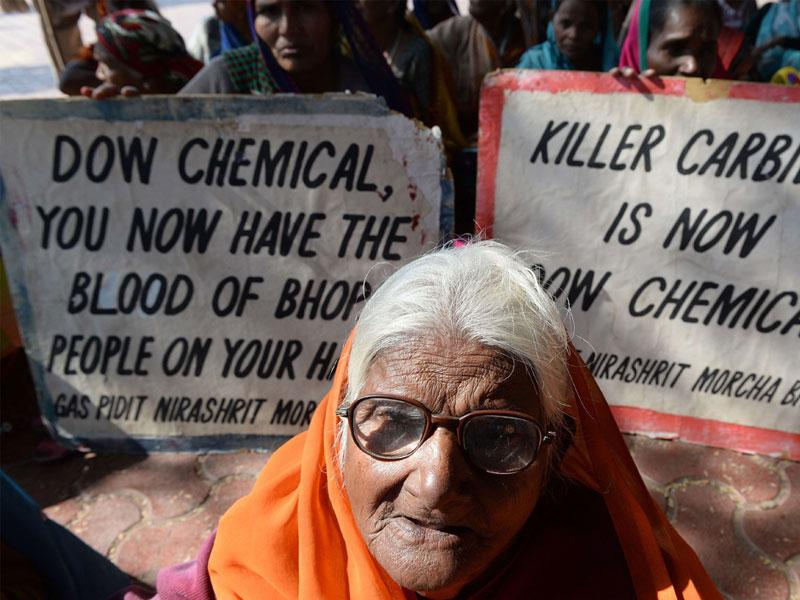 Bhopal gas disaster victim Pujarbai, who has lost her eyesight, attends a protest rally in Bhopal on Tuesday. (AFP photo)