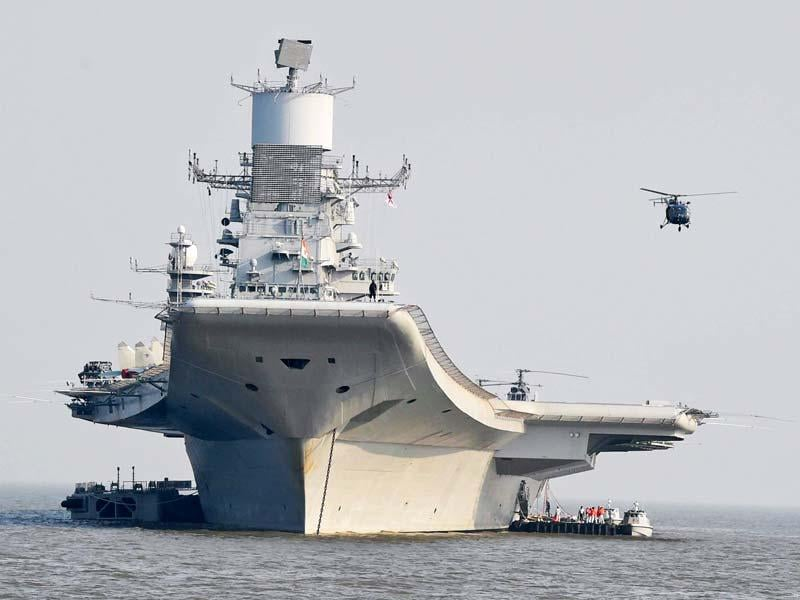 Newly commissioned INS Vikramaditya during the Navy day celebrations in Mumbai. (PTI photo)