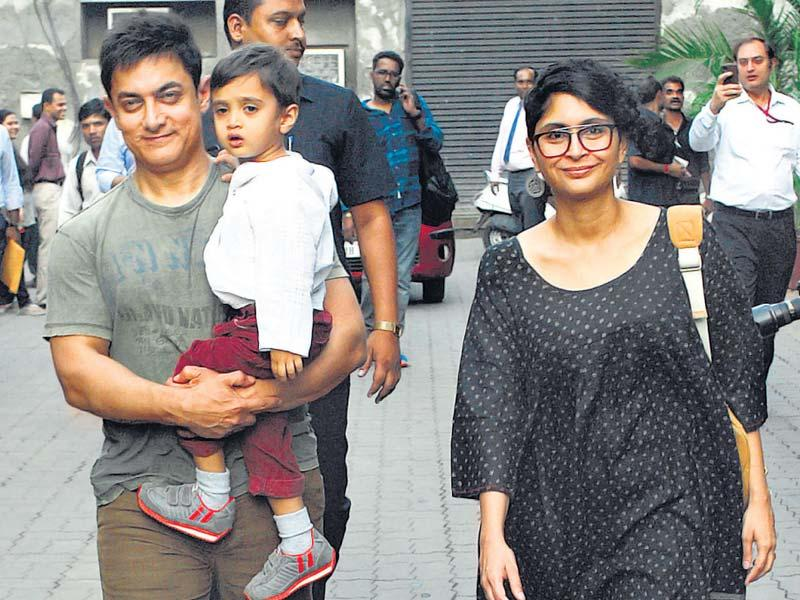 Aamir Khan and Kiran Rao celebrated their son Azad's third birthday in Mumbai. (HT Photo)