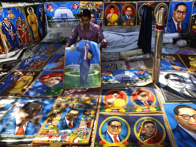 Posters of Babasaheb Ambedkar are seen outside Shivaji Park ground in Dadar, Mumbai a day ahead of his 58th death anniversary. (Kalpak Pathak/HT photo)