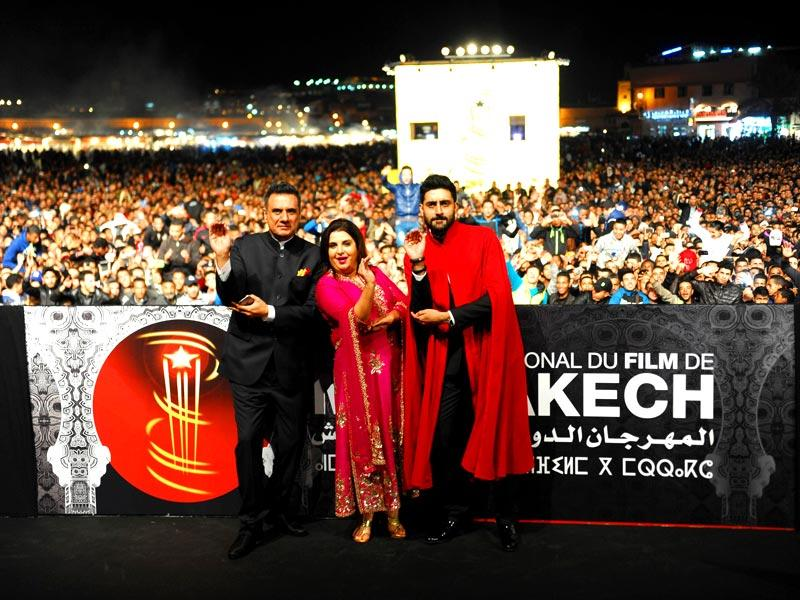 Film director Farah Khan, actors Abhishek Bachchan and Boman Irani at the red carpet to present the film Happy New Year at the 14th Marrakech International Film Festival in Morocco on Dec 6, 2014. (IANS)