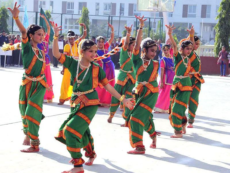 Students perform a dance during the inaugural ceremony of National Aerobics Competition at SICA School in Indore on Tuesday. (Arun Mondhe/HT photo)