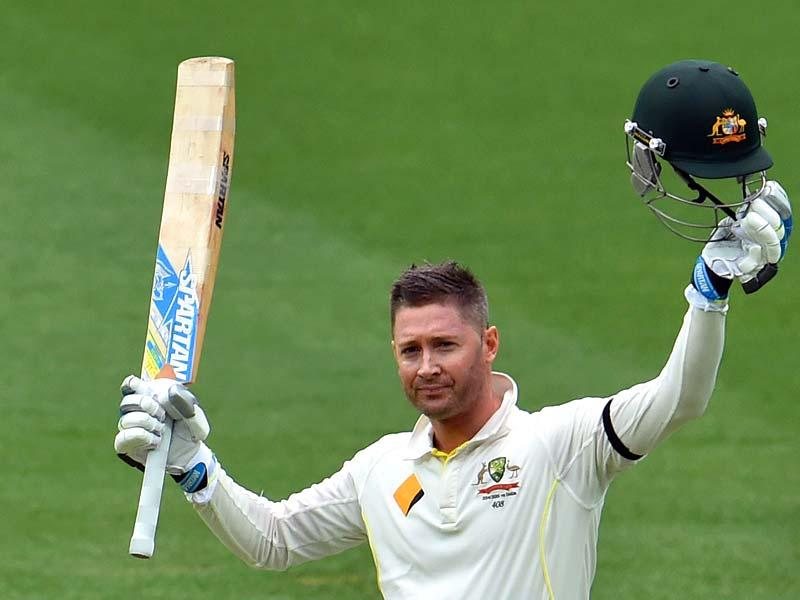 Australia's Michael Clarke celebrates his century on the second day of the first Test between Australia and India at the Adelaide Oval. (AFP Photo)