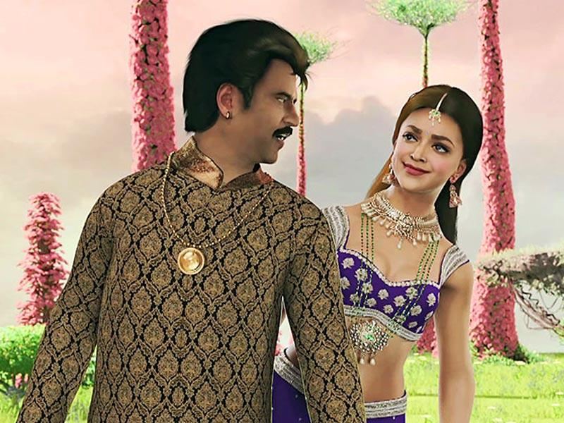 Rajinikanth and Deepika in Kochadaiyaan - In this animated revenge saga Rajinikanth was paired with Bollywood A-lister Deepika Padukone.
