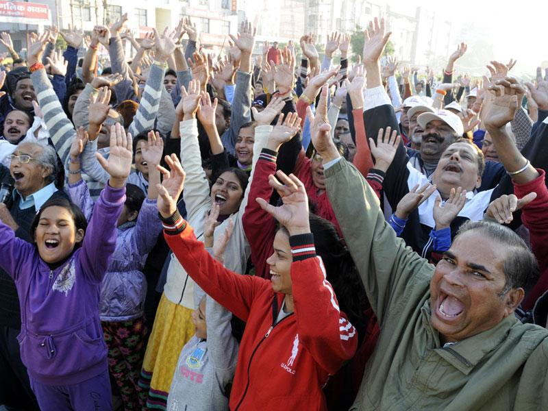 People enjoy a hearty laugh during Raahgiri Day celebrations in Indore on Sunday. (Amit K Jaiswal/HT photo)