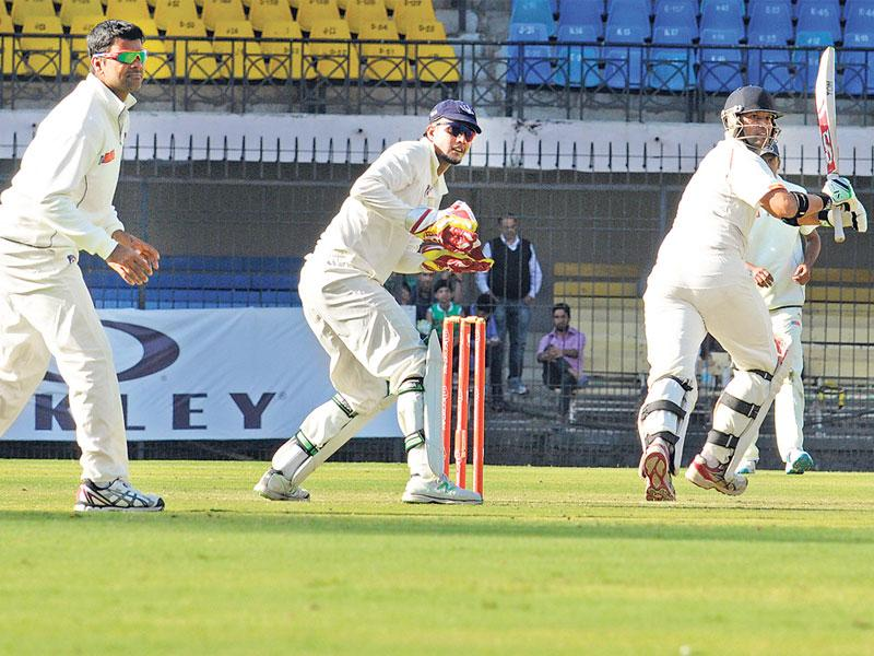 MP skipper Devendra Bundela scored 80 runs on the opening day of Ranji match between MP and Uttar Pradesh in Indore on Sunday. (Amit K Jaiswal/HT photo)