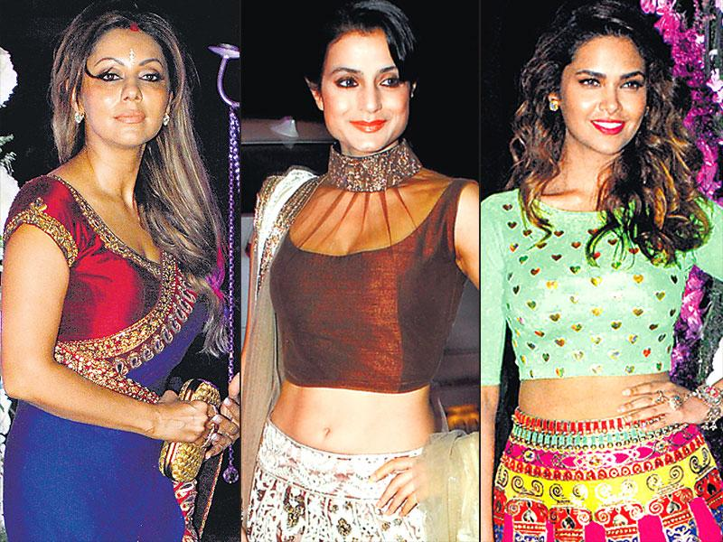 The sangeet ceremony of Riddhi Malhotra and Tejas Talwalkar was a starry affair as several B-Town stars made an appearance, including Gauri Khan, Ameesha Patel and Esha Gupta. (HT Photo)