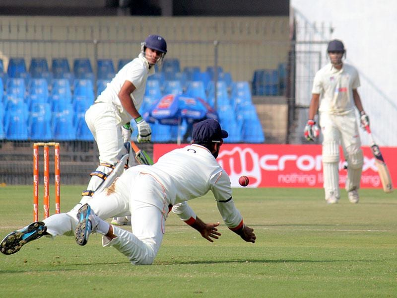 MP's Harpreet Singh Bhatia in action on the second day of Ranji trophy match between MP and UP in Indore on Monday. (Shankar Mourya/HT photo)