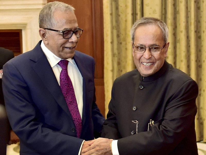 President Pranab Mukherjee shakes hands with his Bangladeshi counterpart Abdul Hamid during a meeting at Rashtrapati Bhavan in New Delhi. (PTI Photo)