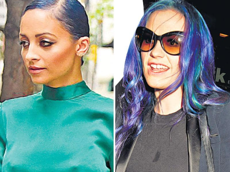 From steel grey to light blue, and finally, an ashy dark blue — actor Nicole Richie has stuck to the mermaid-inspired hues when it comes to her hair colour. Colourblocking it with a stark green outfit, she owned the fabulous look. | Actor Anna Paquin made wearing the blues look oh-so-stylish with her latest hairdo. Turquoise strands interspersed with navy blue-coloured hair is how the actor worked the look. An all-black outfit to make her hair stand out served the purpose well.