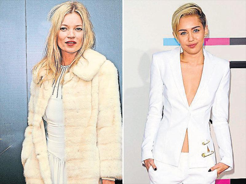 Supermodel Kate Moss nails the look with faux fur in off-white hue and gilded accessories. | Take cue from singer Miley Cyrus to style your white tux with black stilettos and gold detailing. (AFP)