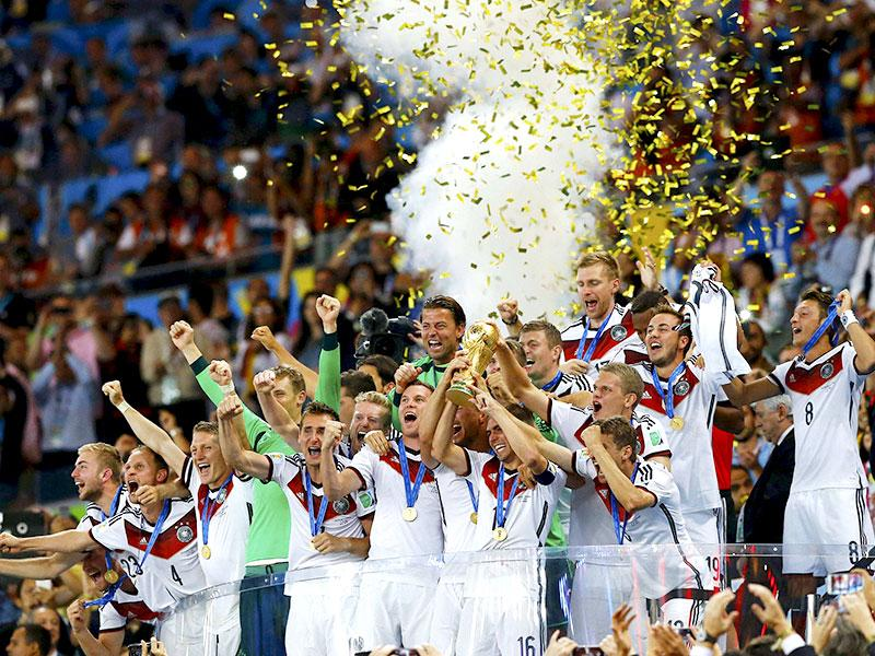 Germany lifts the World Cup trophy as they celebrate their 2014 World Cup final win against Argentina at the Maracana stadium in Rio de Janeiro, in this July 13, 2014 file photo. (Reuters Photo)