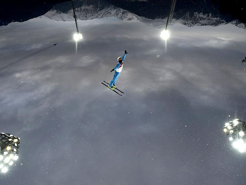 Belarus' Anton Kushnir competes during the men's freestyle skiing aerials qualification round at the 2014 Sochi Winter Olympic Games in Rosa Khutor. (Reuters Photo)