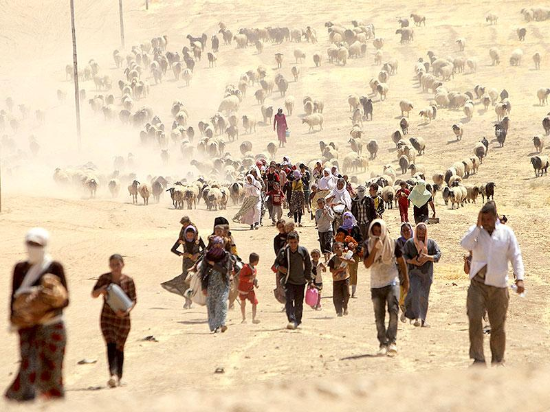 Displaced people from the minority Yazidi sect, fleeing violence from forces loyal to the Islamic State in Sinjar town, walk towards the Syrian border. (Reuters Photo)