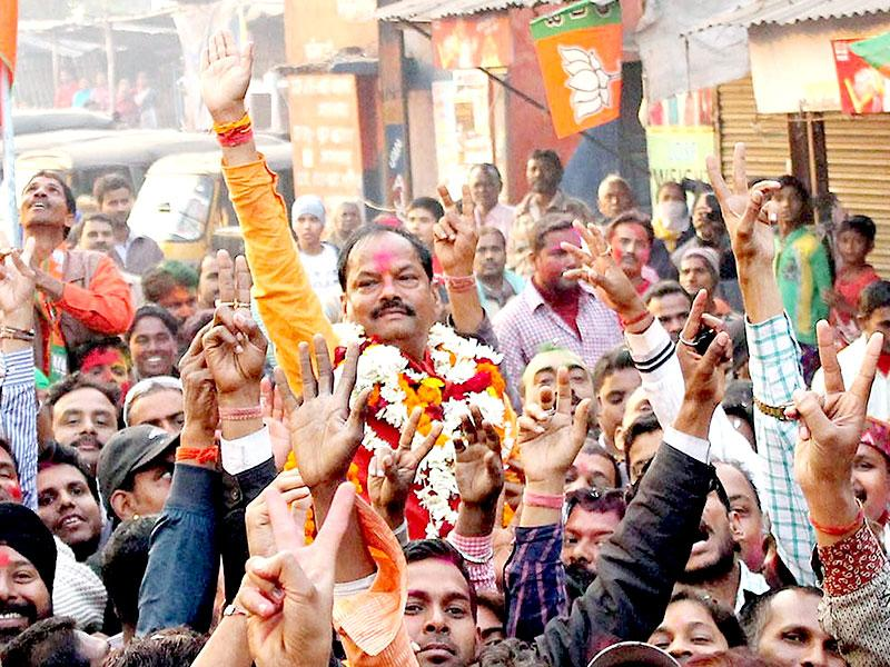 BJP national vice president Raghubar Das flashes the victory sign after his win from East Jamshedpur constituency in the Jharkhand assembly elections. (PTI Photo)