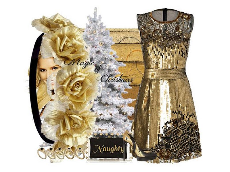 Whether it's a subtle champagne-colored metallic paired with pastels and whites or a bolder, yellow-hued tone paired with black, gold is a classic for making holiday party-wear special, glamorous and instantly festive. We show you how it works in styles ranging from pretty to striking to sleekly minimalist. Frosted metallic: Excited about New Year's Eve? Let it reflect in your clothes. Go for this frosted metallic look. Just keep your make-up minimum.