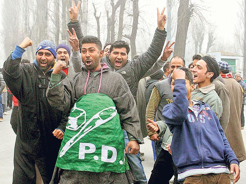 Peoples Democratic Party (PDP) workers celebrate their party's win in Srinagar on Tuesday. (PTI Photo)