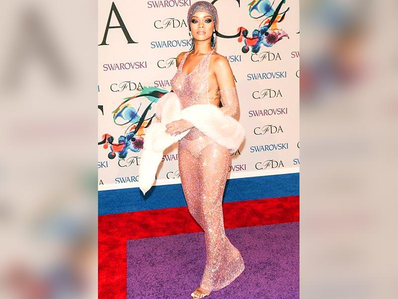 Rihanna: Pop princess Rihanna in June set the temperature rising in a Adam Selman Swarovski gown that left nothing to the imagination.