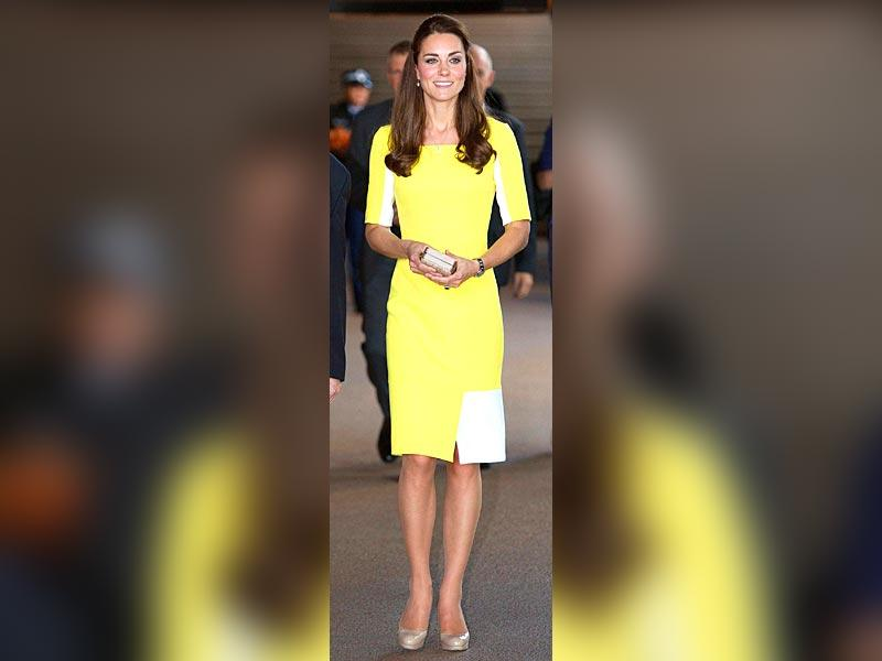 Kate Middleton: The Duchess of Cambridge on her official tour to Australia stepped out of the plane looking picture perfect in Roksanda Ilincic sunny yellow dress.
